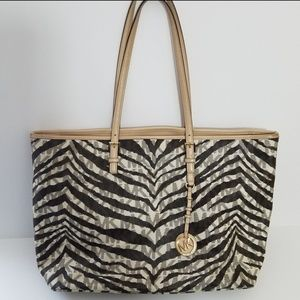 Michael Kors zebra monogram Jet Set large tote bag